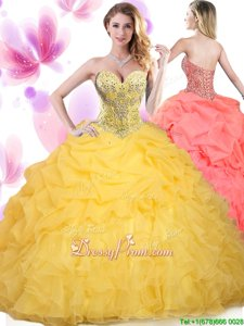 Beautiful Gold Quinceanera Dress Military Ball and Sweet 16 and Quinceanera and For withBeading and Ruffled Layers Sweetheart Sleeveless Lace Up