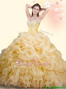 Ideal With Train Ball Gowns Sleeveless Gold Quinceanera Dress Brush Train Lace Up