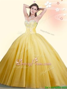 Gold Sweetheart Lace Up Beading Quince Ball Gowns Sleeveless