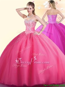Low Price Floor Length Hot Pink Quince Ball Gowns Tulle Sleeveless Spring and Summer and Fall and Winter Beading
