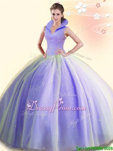 Deluxe Lavender Sleeveless Tulle Backless Quinceanera Gown forMilitary Ball and Sweet 16 and Quinceanera