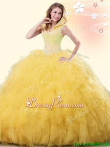 Modern Gold Ball Gowns Tulle High-neck Sleeveless Beading and Ruffles Floor Length Backless Vestidos de Quinceanera