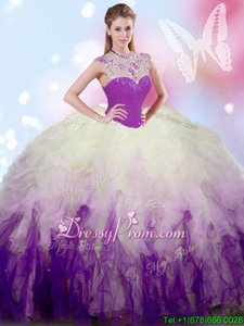 Noble Floor Length Zipper Sweet 16 Dress White And Purple and In forMilitary Ball and Sweet 16 and Quinceanera withBeading and Ruffles