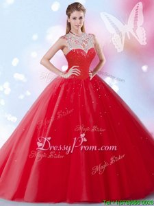 Red Ball Gowns High-neck Sleeveless Tulle Floor Length Zipper Beading and Sequins Sweet 16 Quinceanera Dress