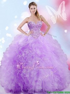 Luxurious Lavender Sweetheart Neckline Beading and Ruffles 15 Quinceanera Dress Sleeveless Lace Up