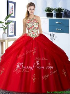 Custom Made Red Sleeveless Floor Length Embroidery and Pick Ups Lace Up Quinceanera Gown