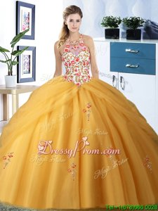 Admirable Embroidery and Pick Ups Quinceanera Dress Gold Lace Up Sleeveless Floor Length