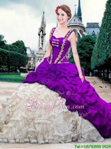 On Sale Sleeveless Brush Train Beading and Ruffles and Pick Ups Lace Up Sweet 16 Quinceanera Dress