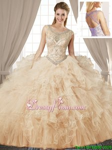Extravagant Ball Gowns 15th Birthday Dress Champagne Scoop Tulle Sleeveless Floor Length Lace Up