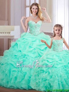 Exquisite Apple Green Sweetheart Neckline Beading and Ruffles and Pick Ups 15th Birthday Dress Sleeveless Lace Up