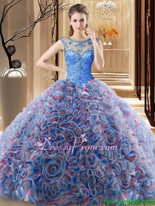 Best Selling Blue Sleeveless Beading Lace Up Sweet 16 Quinceanera Dress