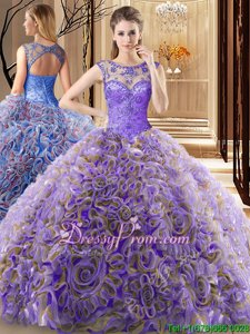 Custom Designed Scoop Sleeveless Fabric With Rolling Flowers Quinceanera Dresses Beading Brush Train Lace Up