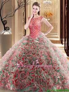Super Scoop Sleeveless Quinceanera Dresses Brush Train Beading Red Fabric With Rolling Flowers