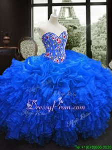 Trendy Sweetheart Sleeveless Lace Up Ball Gown Prom Dress Royal Blue Organza