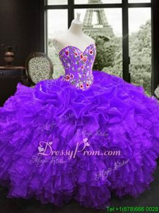 Edgy Floor Length Purple Vestidos de Quinceanera Organza Sleeveless Spring and Summer and Fall and Winter Embroidery and Ruffles