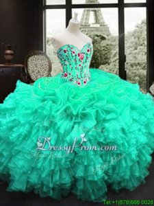 Turquoise 15th Birthday Dress Military Ball and Sweet 16 and Quinceanera and For withEmbroidery and Ruffles Sweetheart Sleeveless Lace Up