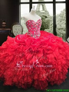 Custom Design Red Lace Up Quinceanera Dress Embroidery and Ruffles Sleeveless Floor Length