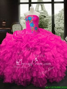 Artistic Organza Strapless Sleeveless Lace Up Embroidery and Ruffles Quinceanera Dress inFuchsia