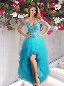 Affordable Off the Shoulder High Low Teal Tulle Sleeveless Beading and Ruffles