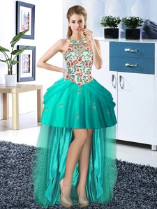 Off the Shoulder Teal Sleeveless Mini Length Beading and Ruffles Lace Up Prom Dress