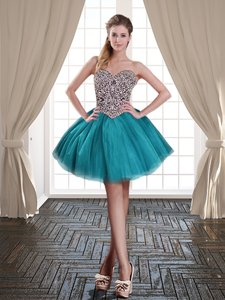 Luxury Sleeveless Tulle Mini Length Lace Up in Teal for with Beading