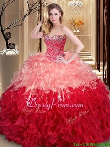 Delicate Ball Gowns Quinceanera Dress Red Sweetheart Organza Sleeveless Floor Length Lace Up