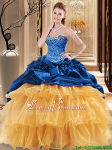 Sleeveless Floor Length Beading and Ruffles Lace Up Quince Ball Gowns with Navy Blue and Gold