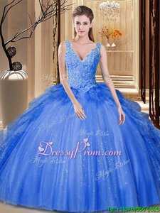 Fashionable Royal Blue Ball Gowns Tulle V-neck Sleeveless Sequins and Pick Ups Floor Length Backless Quinceanera Dress
