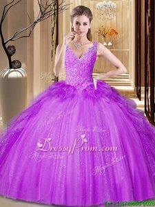 Ideal Appliques and Ruffles and Sequins Vestidos de Quinceanera Fuchsia Backless Sleeveless Floor Length