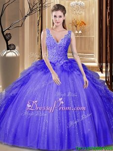 Lavender Ball Gowns Appliques and Ruffles and Sequins 15 Quinceanera Dress Backless Tulle and Sequined Sleeveless Floor Length