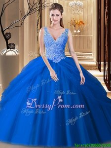 Royal Blue V-neck Neckline Appliques and Pick Ups Sweet 16 Quinceanera Dress Sleeveless Backless