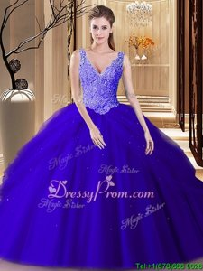 Glittering Navy Blue Backless V-neck Appliques and Pick Ups Quince Ball Gowns Tulle Sleeveless
