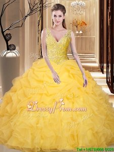 Luxury Floor Length Gold Quinceanera Gowns V-neck Sleeveless Backless