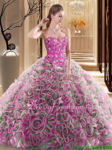 Fabric With Rolling Flowers Sweetheart Sleeveless Brush Train Lace Up Embroidery and Ruffles Vestidos de Quinceanera inMulti-color