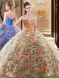 Fabric With Rolling Flowers Sweetheart Sleeveless Brush Train Lace Up Embroidery and Ruffles Quinceanera Gowns inMulti-color