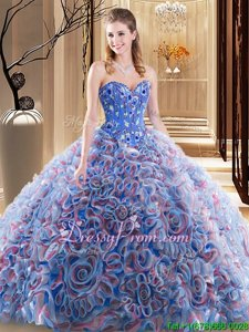 Deluxe Sleeveless Fabric With Rolling Flowers With Brush Train Lace Up Vestidos de Quinceanera inLavender forSpring and Summer and Fall and Winter withEmbroidery and Ruffles