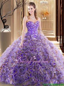 Cheap Sweetheart Sleeveless Sweet 16 Dress With Brush Train Embroidery and Ruffles Lilac Fabric With Rolling Flowers