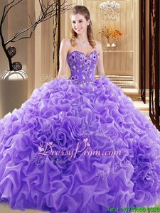 Noble Lavender Lace Up Quinceanera Gown Beading and Ruffles Sleeveless Floor Length