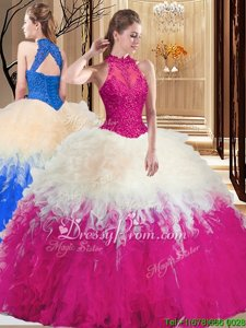 Clearance White and Hot Pink Ball Gowns High-neck Sleeveless Organza Floor Length Backless Lace and Appliques and Ruffles Ball Gown Prom Dress