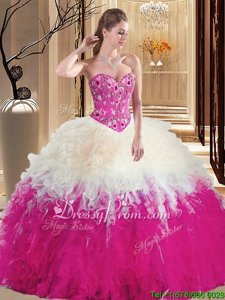 Decent White and Hot Pink Sleeveless Embroidery and Ruffles Floor Length Vestidos de Quinceanera