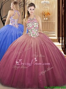 Discount Floor Length Watermelon Red Vestidos de Quinceanera High-neck Sleeveless Lace Up