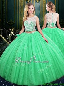 Affordable Sleeveless Tulle and Sequined Floor Length Lace Up Sweet 16 Dresses inSpring Green forSpring and Summer and Fall and Winter withLace and Sequins