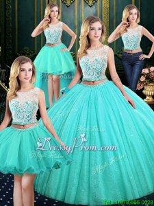Flare Blue Tulle and Sequined Lace Up Sweet 16 Quinceanera Dress Sleeveless Floor Length Lace and Sequins