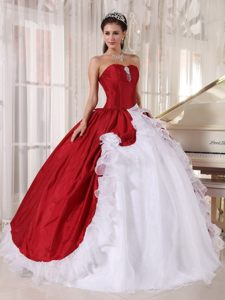 Sweet Taffeta and Organza Sweet 15 Dresses Beading in Red and White