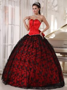 Sleeveless Dresses for a Quince Sweetheart with Big Bowknot in Red