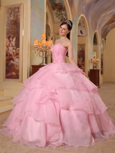 Multi-tiered Beaded Pink Sweet Sixteen Dresses Ruching in Fortaleza