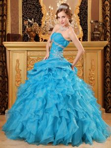 Lovely Blue Strapless Ruffled Dresses for 15 Beading Lace up Back