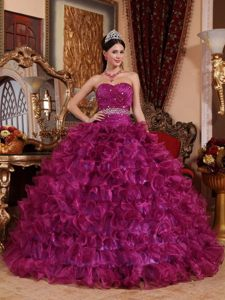 Purple Ball Gown Organza Ruffles Sweet 15 Dresses Beading Sweetheart