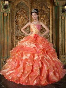 Orange and Watermelon Organza Beaded Ruffled Sweet Sixteen Dress