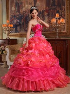 Beaded and Ruffled Organza Sweet Sixteen Dresses in Hot Pink
